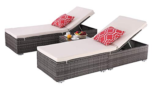 HTTH Outdoor Chaise Lounge, Easy To Assemble Chaise Longue