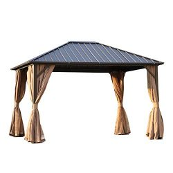 Outsunny 10′ x 12′ Backyard Patio Hardtop Gazebo with Screened Curtains Aluminum Metal