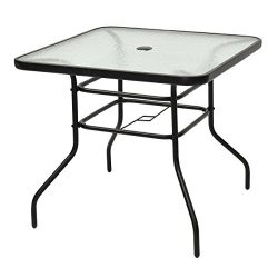 Tangkula Patio Table Outdoor Garden Balcony Poolside Lawn Glass Top Steel Frame All Weather Dini ...