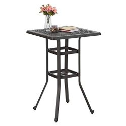 PHI VILLA 27.5″ Cast Aluminum Patio Outdoor Frosted Surface Square Bar Height Bistro Table ...