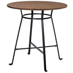 Harper&Bright Designs 36″ Height Retro Rustic Pub Bar Table Round Wood Table with Heav ...