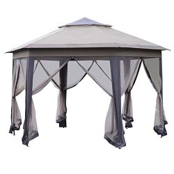 Outsunny 12' Steel Fabric Hexagonal Pop Up Patio Gazebo with Mesh Sidewalls – Coffee and Beige