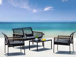 Suntone Patio Furniture Sofa Set – Wicker Patio Conversation Set (4 Piece)