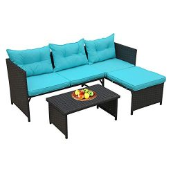 Rattaner 3-Piece Outdoor Conversation Furniture Set Patio Wicker Rattan Sofa Sectional Couch Tur ...