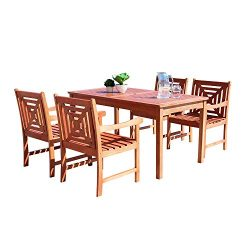 Vifah Lido Outdoor 5-Piece Wood Patio Dining Set