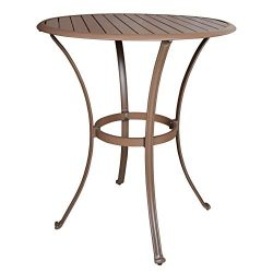 Panama Jack Outdoor PJO-1001-ESP-PT Island Breeze Slatted Aluminum Round Pub Table in Espresso F ...
