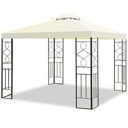 Tangkula 2 Tier 10'x10′ Patio Gazebo Canopy Tent Steel Frame Shelter Awning (Gray)