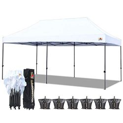 ABCCANOPY 10×20 Straight Leg Pop-up Canopy Commercial Grade Instant Canopy Black Roller Bag ...