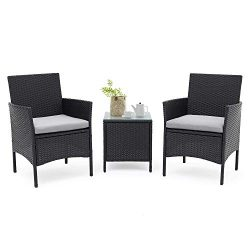 SUNCROWN Outdoor Bistro Set 3 Piece Black Wicker Chairs with Glass Top Table All-Weather Wicker  ...