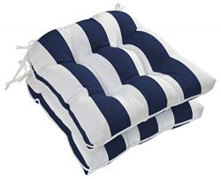 Ornavo Home Water Resistant Indoor/Outdoor Patio Decorative Stripe Tufted Wicker Chair Seat Cush ...
