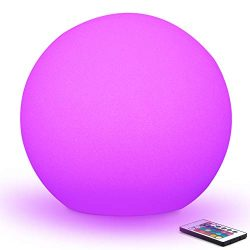 Mr.Go 16-inch Indoor/Outdoor Waterproof Rechargeable LED Glowing Ball Light Orb Globe Lamp w/Rem ...