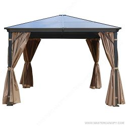 MASTERCANOPY 10X10 Hardtop Gazebo Rustproof Aluminum Permannet Gazebo with Mosquito Netting and  ...