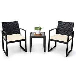 LAHAINA Balcony Furniture Patio Set 3 Piece Wicker Patio Furniture Set Bistro Table Set Modern B ...