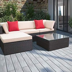 Devoko 5 Pieces Patio Furniture Sets All-Weather Outdoor Sectional Sofa Manual Weaving Wicker Ra ...