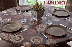 LAMINET Elastic Fitted Table Cover – MEDALLION – Small Round – Fits tables up  ...