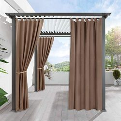 RYB HOME Outdoor Cabana Curtain – Stain Repellent Awning Shade for Lawn & Garden Therm ...