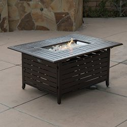 Belleze Elegant 40,000 BTU Rectangle Extruded Sturdy Aluminum Outdoor Propane Gas Fire Pit Table ...
