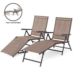 Best Choice Products Set of 2 Outdoor Adjustable Folding Chaise Reclining Lounge Chairs for Pati ...