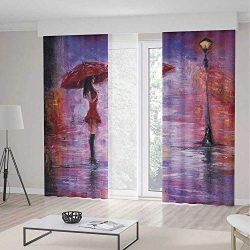 YOLIYANA Decor Collection,Urban for Living Room,Oil Painting Style View Young Woman with Umbrell ...