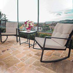 3 Pieces Patio Set Outdoor Rocking Chair Bistro Set Rattan Conversation Sets Wicker Furniture wi ...
