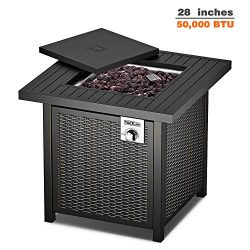TACKLIFE Gas Fire Table, 28 inch 50,000 BTU Auto-Ignition Outdoor Propane Gas Fire Pit Table wit ...