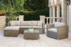 Solaura Outdoor Furniture Set 6-Piece Wikcer Furniture Modular Sectional Sofa Set Grey Wicker wi ...