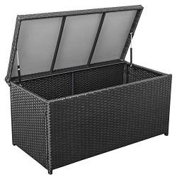 Sundale Outdoor Deluxe Wicker Deck Storage Box All Weather Patio Garden Furniture Patio Containe ...