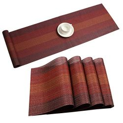 Pauwer Placemats with Table Runner Set Washable Heat Resistant Woven Vinyl Placemats Set of 6 an ...