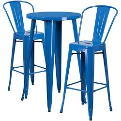 "Flash Furniture 24"" Round Blue Metal Indoor-Outdoor Bar Table Set with 2 Cafe Stools"