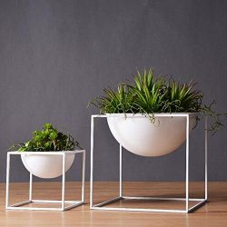 1pc Modern Tabletop Vase Metal Square Flower Plant Pot Tray Cube Pergola Garden Planting Flower  ...