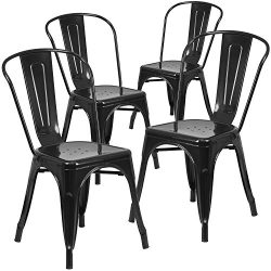 Flash Furniture 4 Pk. Black Metal Indoor-Outdoor Stackable Chair
