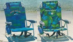 2 Tommy Bahama Backpack Cooler Chair with Storage Pouch and Towel Bar (Blue Stripes + Green Flowers)