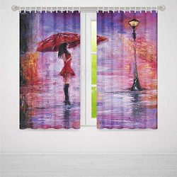 YOLIYANA Urban Windows Blackout Curtain,Oil Painting Style View Young Woman with Umbrella on Str ...