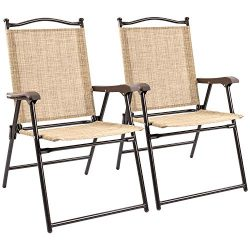 Flamaker Folding Sling Chairs Sets, 2-Pack, Portable Patio Chairs Outdoor Lounge Chairs Foldable ...