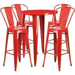 "Flash Furniture 30"" Round Red Metal Indoor-Outdoor Bar Table Set with 4 Cafe Stools"