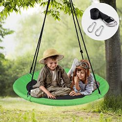 WONDERVIEW Tree Swing, Outdoor Swing with Hanging Strap Kit, 40 Inch Diameter 600lb Weight Capac ...