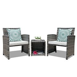 OC Orange-Casual 3-Piece Outdoor Wicker Bistro Patio Furniture Set Cushioned Chair Conversation  ...