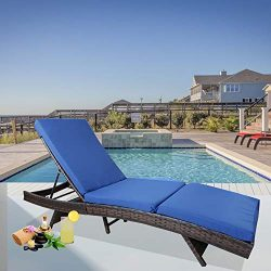 Leaptime Patio Chaise Lounge Rattan Chairs Outdoor Lounger Outdoor Furniture Pool Sunbed w/Cushi ...