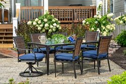 Hanover Mercer 7-Piece Outdoor Patio Dining Set with Navy Cushions, Dining Chairs,Swivel Rockers ...