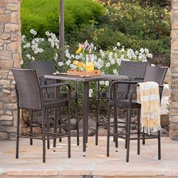 Colburn Outdoor 5 Piece Multibrown Wicker 32.5 Inch Square Bar Table Set