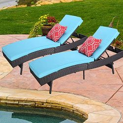 Do4U Outdoor Pool Garden Patio Chaise Lounge Recliner Bed, Easy to Assemble, Exp Rattan with Tur ...