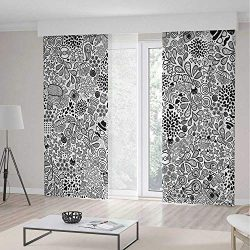 YOLIYANA Window Curtains Doodle Hipster Inspired Abstract Drawing Cupcake Tea Umbrella Leaves an ...