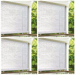 Lewis Hyman 0320166 72″ x 72″ White Roll Up PVC Porch Patio Lanai Blind – Quan ...