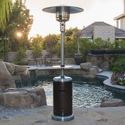 Belleze 48,000BTU Patio Heater with Adjustable Table CSA Certified, 2-Tone Hammered Bronze and S ...