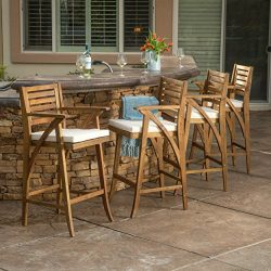 Anguilla Teak Finish Acacia Wood Outdoor Barstool (Set of 4)