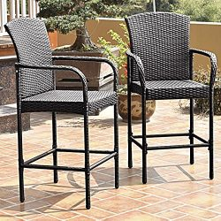 2PCS Rattan Wicker Bar Stool Dining High Counter Chair Patio Furniture Armrest, Made of Lightwei ...