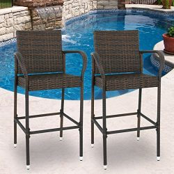 SUPER DEAL Wicker Bar Stool Outdoor Backyard Rattan Chair Patio Furniture Chair w/Iron Frame, Ar ...