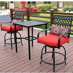 Patio Time Outdoor Furniture 3 Pcs 360 Degree Rotation Swivel Bar Stools with Square Table, Patt ...