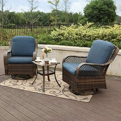 PHI VILLA Rattan Swivel Rocking Chairs 3 PC Patio Conversation Set, 2 Cushioned Chairs & 1 S ...