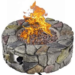 Giantex Gas Fire Pit Table Heavy Duty Outdoor Patio Natural Stone Rocks W/Cover for Backyard, Ga ...